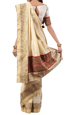 white golden embroidery silk sari with blouse