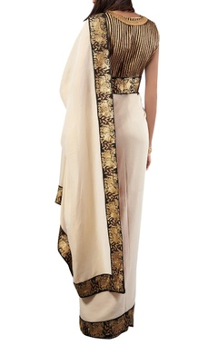 off white embroidered tissue sari with blouse