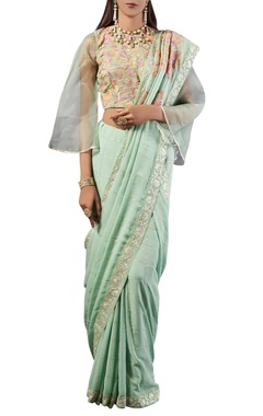 sea green check print georgette sari with blouse