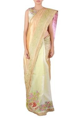 Multi-color thread work kora silk sari with blouse