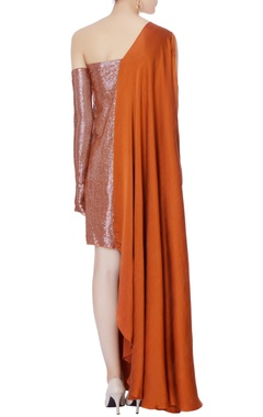 rust orange sequin shirt dress