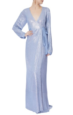baby blue sequin wrap-around gown