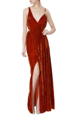 burnt orange velvet cutout gown
