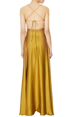 green halter silk gown