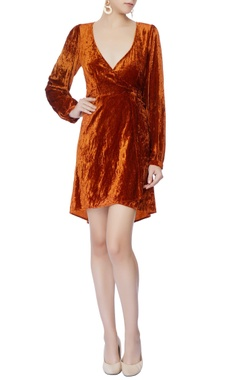 rust orange velvet wrap style dress