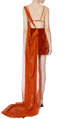 rust orange velvet dress