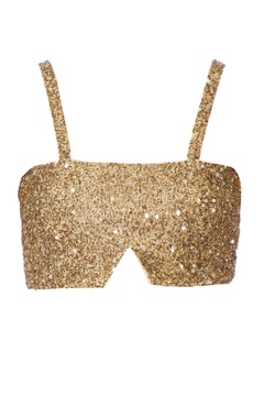 gold sequin jersey bralette top