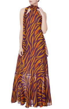 purple & mustard yellow stripe gown