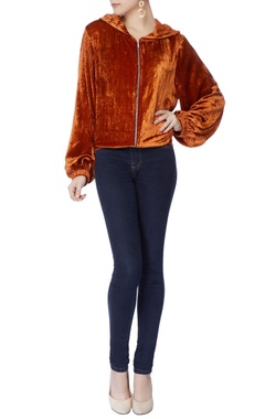 rust orange velvet hoodie jacket