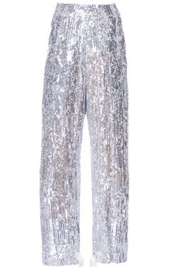 silver sequin embellished pants