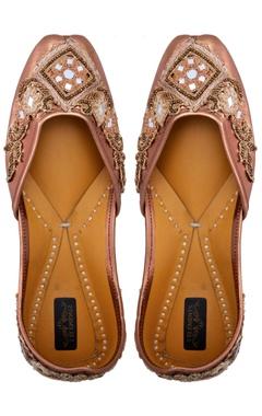 Copper leather embellished jootis