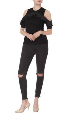 black sequin cold-shoulder blouse