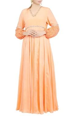 Debarun Peach embroidered maxi dress