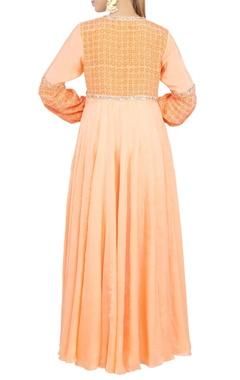 Peach embroidered maxi dress