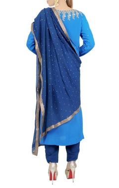 Navy blue zardrozi kurta and trouser set