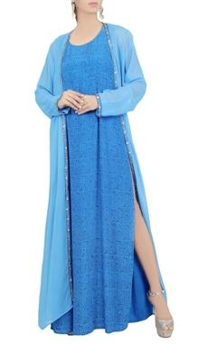Debarun Blue printed maxi dress
