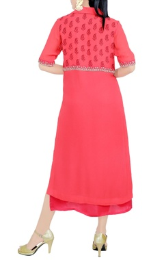 Red embroidered knee-length tunic