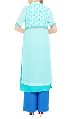 Blue embroidered knee-length tunic and pant set