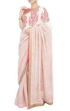 Debarun Peach block print sari with blouse