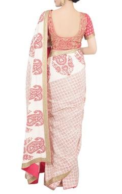 Peach block print sari with blouse