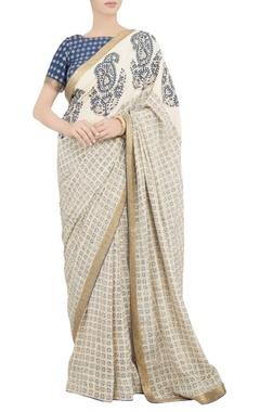 Debarun Navy blue block print sari with blouse