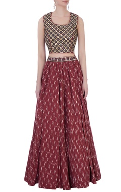Rust ikat skirt with hand-embroidered top