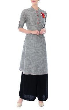 grey peacock motif cotton tunic