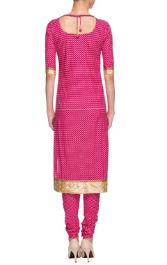 pink printed straight kurta with churidar & dupatta