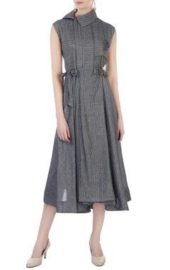 Grey wrap-around midi dress