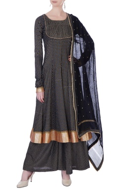 Black block printed kurta with palazzo pants & dupatta