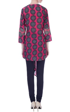 Pink sunflower print asymmetrical tunic