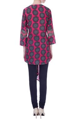 pink sunflower print asymmetrical tunic