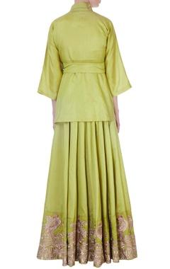 pista green dupion lehenga & kimono jacket