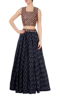 Indigo ikat lehenga with sleeveless blouse
