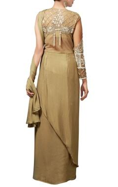 sage green crepe silk sari gown