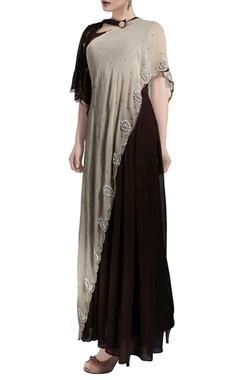 beige & dark brown bell sleeve sari gown