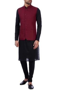 Sadan Pande - Men Wine linen front pocket nehru jacket