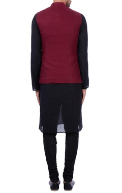 Wine linen front pocket nehru jacket