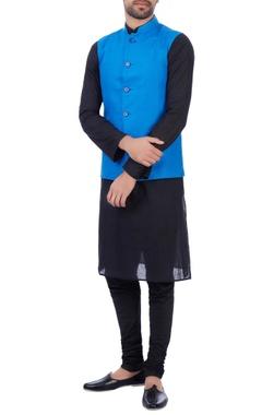 Sadan Pande - Men Blue linen front pocket nehru jacket