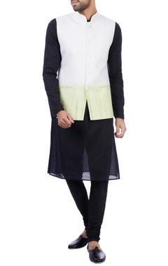 Sadan Pande - Men White and green modal cotton tie dye nehru jacket
