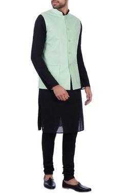 Sadan Pande - Men Mint green linen front pocket nehru jacket