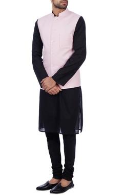 Sadan Pande - Men Baby pink linen front pocket nehru jacket