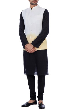 Sadan Pande - Men White and orange linen ombre nehru jacket