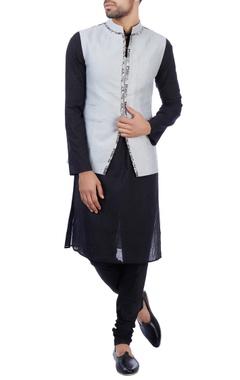 Sadan Pande - Men Grey linen printed nehru jacket