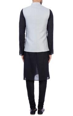 Grey linen printed nehru jacket