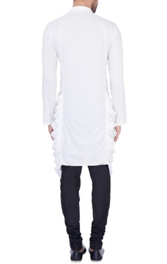 White modal cotton draped kurta