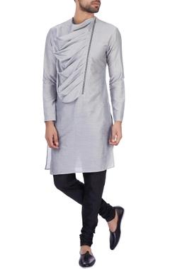 Sadan Pande - Men Grey modal cotton draped kurta