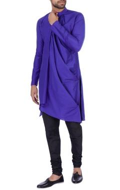 Sadan Pande - Men Dark blue cotton silk draped kurta