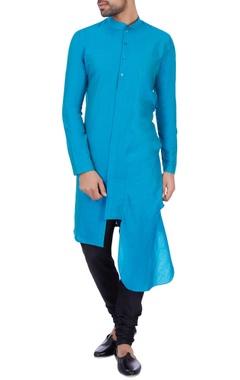 Sadan Pande - Men Turquoise blue cotton silk draped kurta