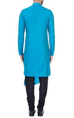 Turquoise blue cotton silk draped kurta